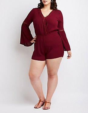 Plus Size Crochet Bell Sleeve Romper