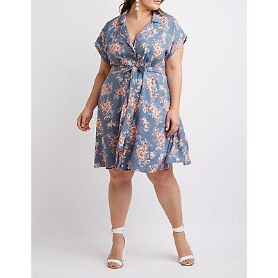 Plus Size Floral Button-Up Dress