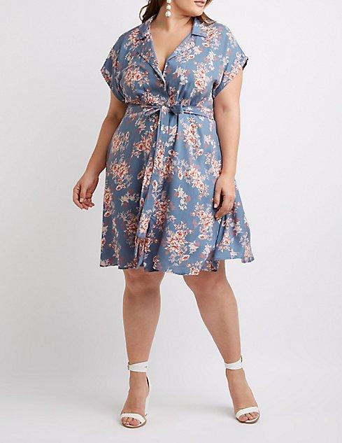 Plus Size Floral Button Up Dress Charlotte Russe