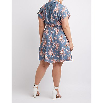 Plus Size Floral Button-Up Dress
