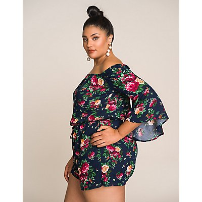 Plus Size Floral Off The Shoulder Romper
