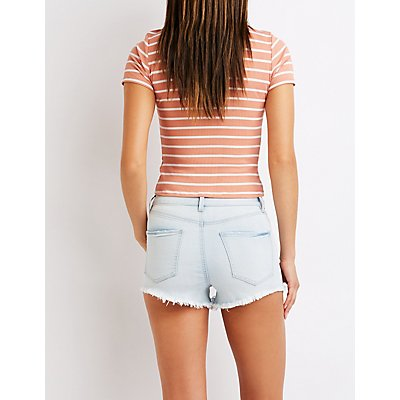 Refuge Destroyed Hi Rise Cheeky Denim Shorts