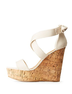 Bamboo Two-Piece Cork Wedge Sandals