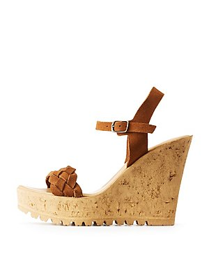Bamboo Faux Suede Wedge Sandal