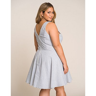 Plus Size Striped Notched Skater Dress