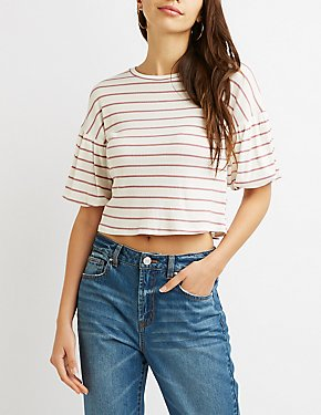 Stripped Balloon Sleeve Crop Top