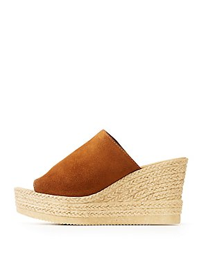 Bamboo Faux Suede Espadrille Wedge Sandals