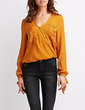 Faux Wrapped Floral Embroidered Top