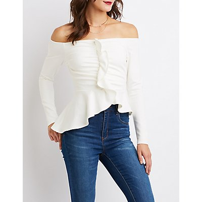 Ruffle-Detail Peplum Top