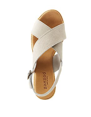 Bamboo Suede Wedge Sandals