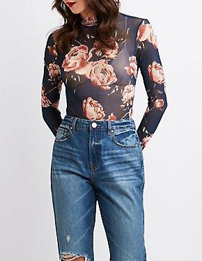 Floral Sheer Mesh Bodysuit