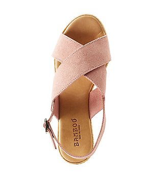 Bamboo Faux Suede Wedge Sandals