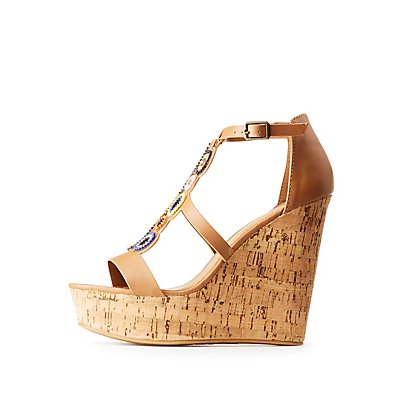 Bamboo Beaded Wedge Sandals