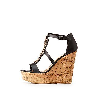 Bamboo Beaded Wedge Sandals