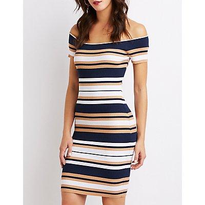 Striped Ribbed Knit Sweater Dress