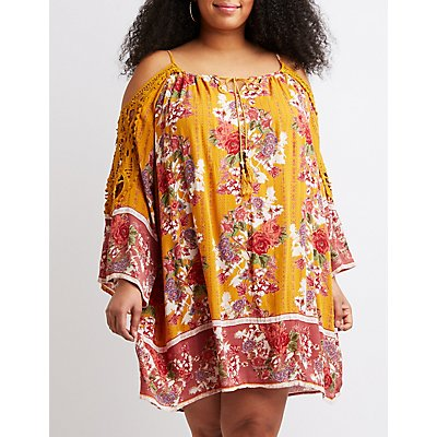 Plus Size Floral Print Cold Shoulder Shift Dress
