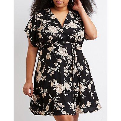 Plus Size Floral Button-Up Skater Dress