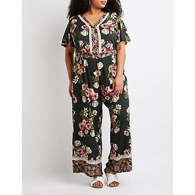 Plus Size Floral Open-Back Jumpsuit