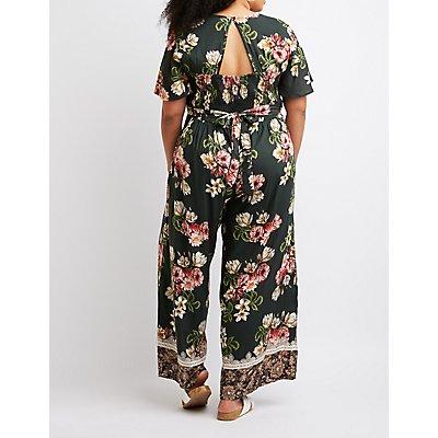 Plus Size Floral Open-Back Jumpsuit