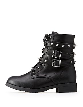 Studded Wrap Combat Boots