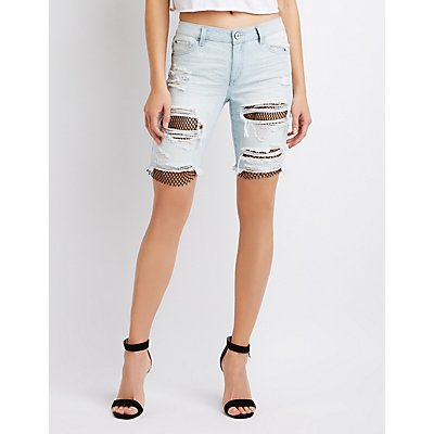 Refuge Destroyed Fishnet Detailed Denim Bermuda Shorts