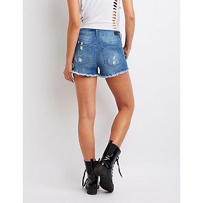 Studded Frayed Hem Shorts