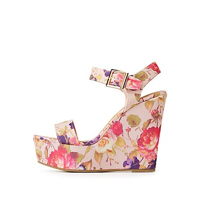 Bamboo Floral Wedge Sandals