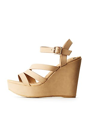 Bamboo Strappy Wedges