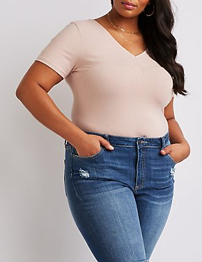 Plus Size V-Neck Bodysuit
