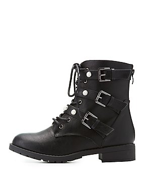 Pearl Studded Combat Boots