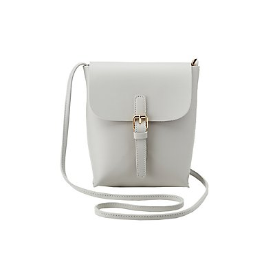 Faux Leather Buckle Crossbody Bag