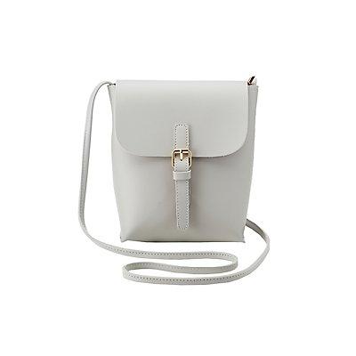 Faux Leather Buckle Crossbody Bag