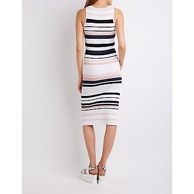 Striped Ribbed Knit Bodycon Sweater Dress