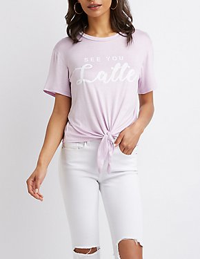 See You Latte Tie-Front Graphic Tee