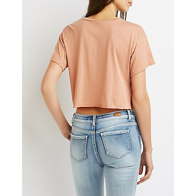 Fringe-Trim Crop Tee