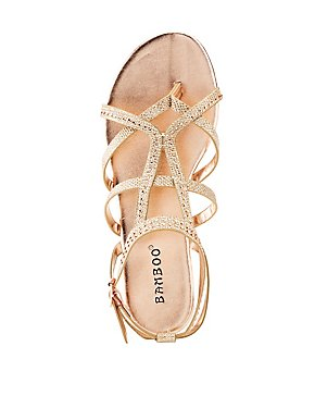 Bamboo Rhinestone Embellished Faux Suede Sandals