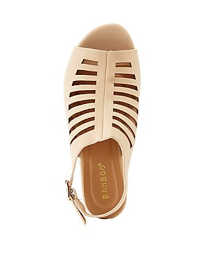 Bamboo Caged Peep Toe Slingback Sandals