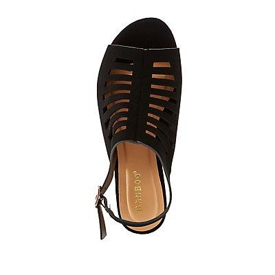 Bamboo Caged Peep Toe Slingback Sandals