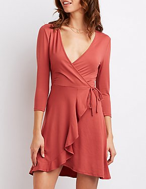 Ruffle-Trimmed Surplice Skater Dress