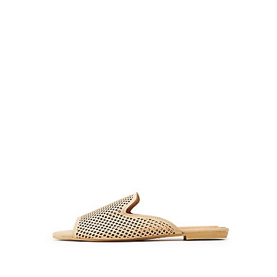 Bamboo Faux Nubuck Perforated Mules