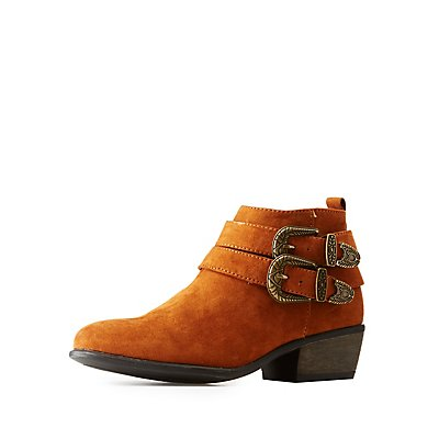 Bamboo Western Buckled Booties