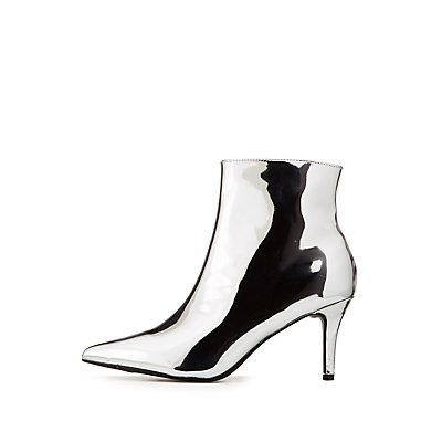 Bamboo Faux Patent Leather Pointed Toe Booties