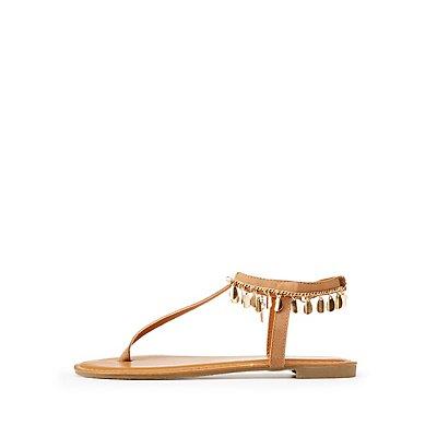 Bamboo Embellished T-Strap Sandals