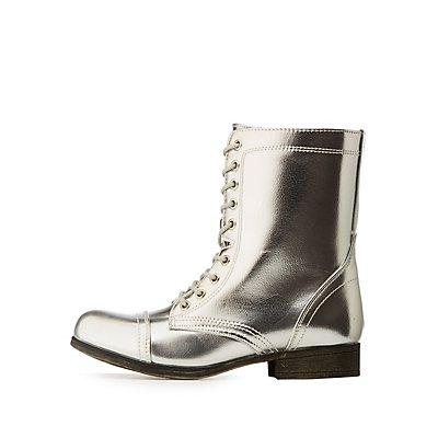Bamboo Metallic Combat Boots