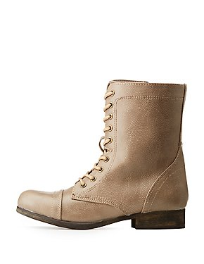 Bamboo Faux Leather Combat Boots