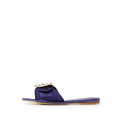 Bamboo Faux Pearl Embellished Satin Slide Sandals