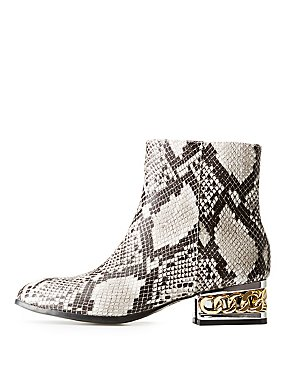 Bamboo Faux Snakeskin Chain Heel Booties