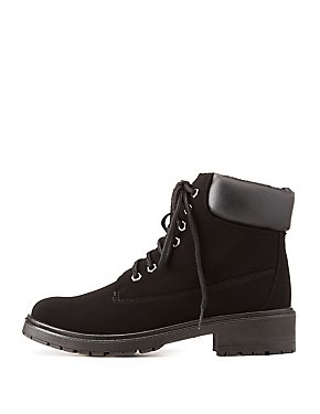 Bamboo Faux Nubuck Lace-Up Boot