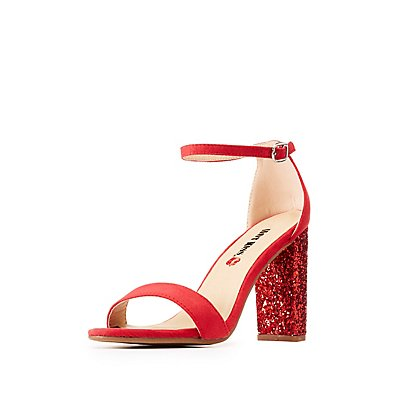 Ankle Strap Glitter Block Sandals