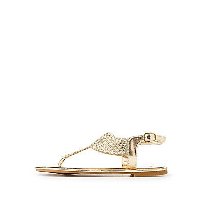 Metallic Crystal T-Strap Sandals
